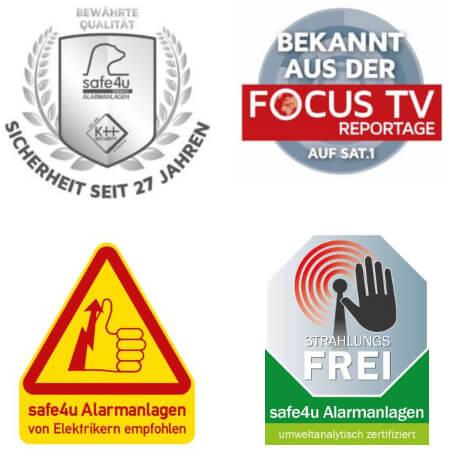 Sicherheitslogos der Alarmanlage safe4u für Stadtxy